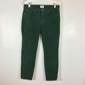 J. Crew Toothpick Green Corduroy Crop Jeans  28P